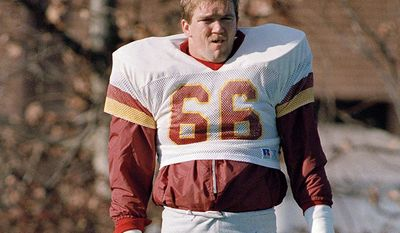Joe Jacoby OT Washington Redskins. Jacoby joined the Redskins as a rookie free agent in the summer of 1981. He started 13 games his rookie season, including eight at left tackle. He was the only starter among the Hogs for all four of their Super Bowl appearances from 1981 to 1991. He was a Hall of Fame finalist three times and earned first-team All-Pro honors twice as well as four Pro Bowl nominations.  (AP Photo/J. Scott Applewhite) ** FILE **