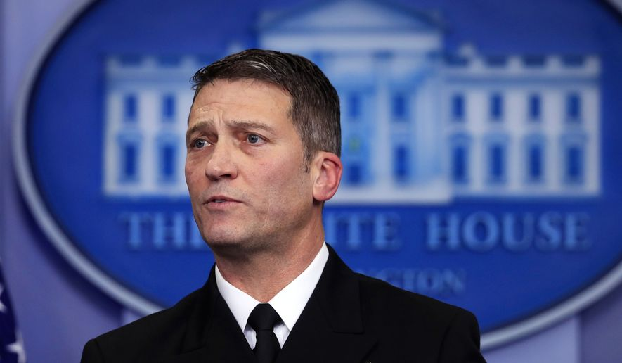 In this Tuesday, Jan. 16, 2018, file photo, White House physician Dr. Ronny Jackson speaks to reporters during the daily press briefing in the Brady press briefing room at the White House in Washington. On Wednesday, March 28, 2018, President Donald Trump fired Veterans Affairs Secretary David Shulkin, and tweeted that Jackson is his nominee to replace Shulkin. (AP Photo/Manuel Balce Ceneta) ** FILE **