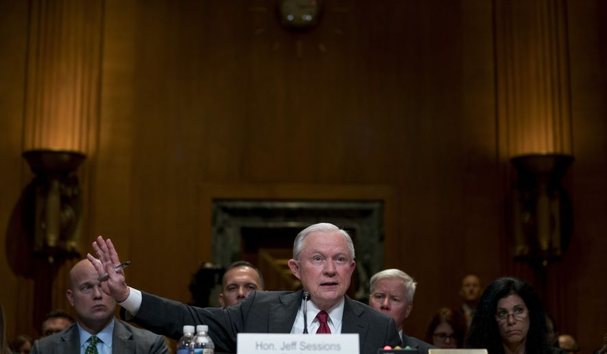 Attorney General Jeff Sessions speaks at a Senate Appropriations subcommittee on the Department of Justice's budget on Capitol Hill, Wednesday, April 25, 2018, in Washington. (AP Photo/Andrew Harnik)
