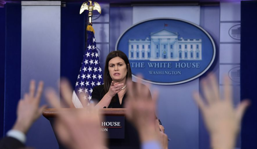 White House press secretary Sarah Huckabee Sanders calls on a reporter during the daily briefing at the White House in Washington, Wednesday, April 25, 2018. Sanders was asked about North Korea, the state visit of French President Emmanuel Macron and other topics. (AP Photo/Susan Walsh)