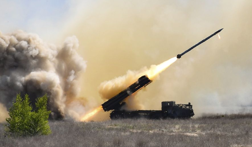 The successful final flying tests of the new Ukrainian Vilkha missile complex seen in a military training ground south of city Kherson, Ukraine, Wednesday, April 25, 2018. Ukraine will launch the batch production of the Vilkha (Alder) missile complex next year Ukrainian President Petro Poroshenko has said. (Mykola Lazarenko/Presidential Press Service Pool Photo via AP)