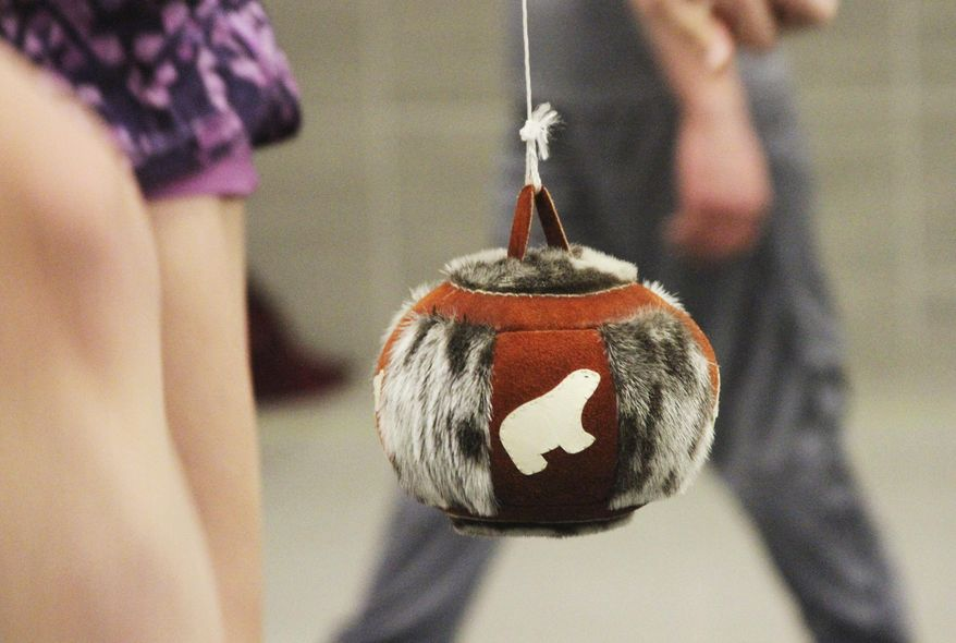 This Jan. 18, 2018, photo shows a type of decorative ball that organizers use in most kicking events in Native Youth Olympics Games in Juneau, Alaska. The high school state championships in Native Youth Olympics will be held beginning Thursday, April 26, in Anchorage, Alaska, and Juneau will send a team for the first time in nearly three decades. (AP Photo/Mark Thiessen)