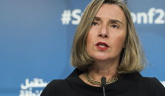 European Union foreign policy chief Federica Mogherini addresses the media during a conference 'Supporting the future of Syria and the region' at the EU Council in Brussels on Wednesday, April 25, 2018. (AP Photo/Virginia Mayo)
