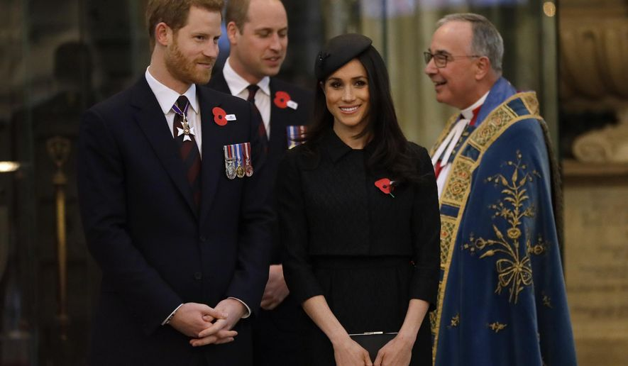 Britain's Prince William, Prince Harry, left, and Meghan Markle arrive to attend a Service of Thanksgiving and Commemoration on ANZAC Day at Westminster Abbey in London, Wednesday, April 25, 2018. (AP Photo/Kirsty Wigglesworth, pool)