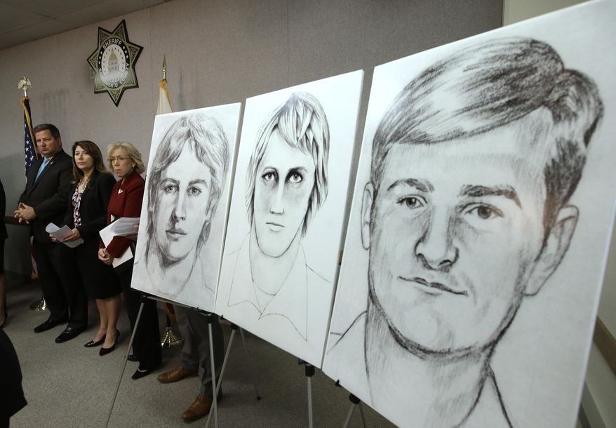 """In this June 15, 2016, file photo, law enforcement drawings of a suspected serial killer believed to have committed at least 12 murders across California in the 1970s and 1980s are displayed at a news conference about the investigation, in Sacramento, Calif. The Sacramento County District Attorney's Office plans to make a """"major announcement"""" Wednesday, April 25, 2018, in the case of the elusive serial killer. (AP Photo/Rich Pedroncelli, File)"""