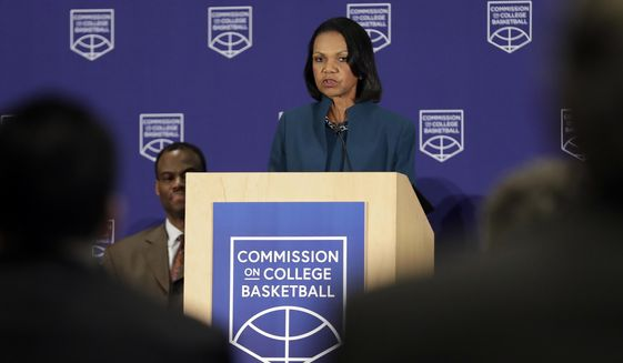 Former U.S. Secretary of State Condoleezza Rice speaks during a news conference at the NCAA headquarters, Wednesday, April 25, 2018, in Indianapolis. The Commission on College Basketball led by Rice, released a detailed 60-page report Wednesday, seven months after the NCAA formed the group to respond to a federal corruption investigation that rocked college basketball. (AP Photo/Darron Cummings)