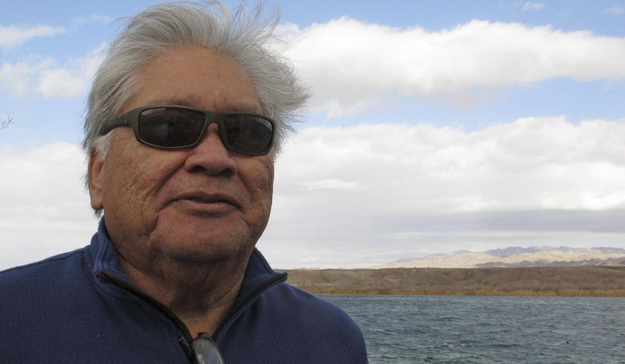 This Feb. 19, 2018 photo shows Colorado River Indian Tribes Chairman Dennis Patch along canals that deliver river water to the reservation in Parker, Ariz. The Mohave Indians and three other tribes that live on the Colorado River Indian Reservation will vote on whether to recall Reservation Chairman Patch and the tribes' other eight council members. (AP Photo/Felicia Fonseca)
