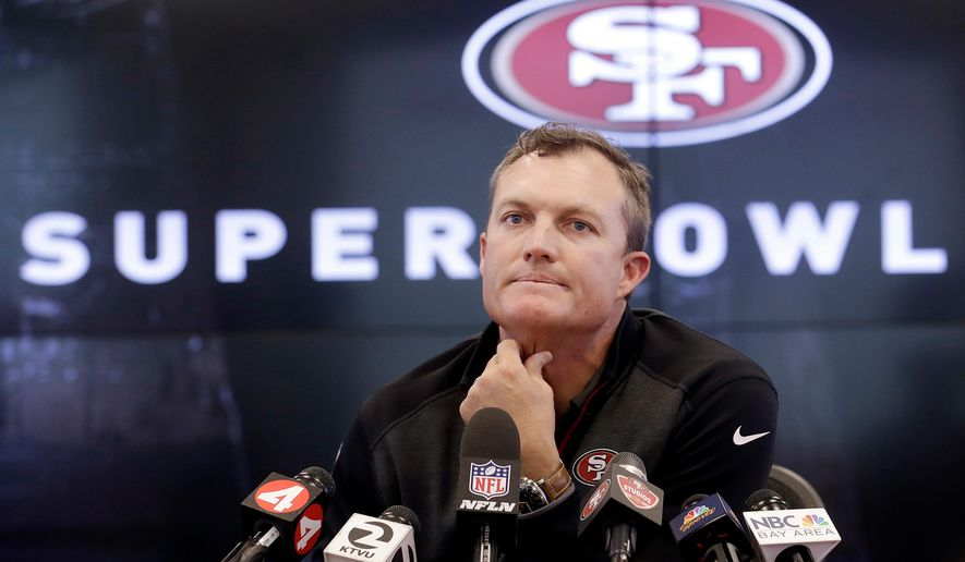 FILE - In this April 23, 2018, file photo, San Francisco 49ers general manager John Lynch speaks to reporters at the team's football facility in Santa Clara, Calif.Lynch felt like he had filled a hole at middle linebacker when he drafted Reuben Foster in the first round a year ago.  Now with Foster facing legal trouble and possible league punishment following three felony charges in a domestic violence case, Lynch heads into this year's draft knowing he can't count on Foster to play this season.  (AP Photo/Jeff Chiu, File)
