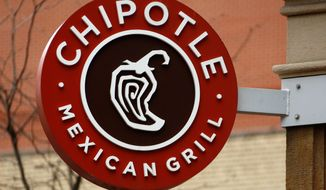 FILE- This Jan. 12, 2017, file photo shows the sign on a Chipotle restaurant in Pittsburgh. Chipotle Mexican Grill, Inc. reports earnings Wednesday, April 25, 2018. (AP Photo/Gene J. Puskar, File)
