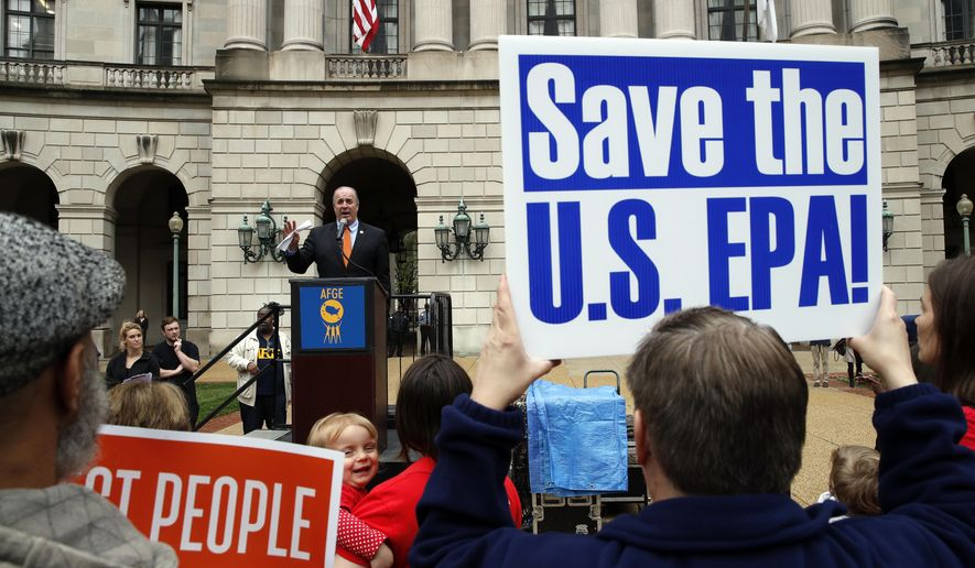Rep. Dale Kildee, D-Mich., speaks about EPA Administrator Scott Pruitt and the state of the EPA during a protest by the American Federation of Government Employees union, Wednesday, April 25, 2018, in Washington. (AP Photo/Alex Brandon)