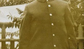 File-This undated file photo provided by Arthur O'Brien shows his grandfather Thomas O'Brien in his fireman's uniform after he joined the FDNY in 1917. O'Brien died on Oct. 27, 1938 after returning to the firehouse from fighting a Manhattan fire, but he was never recognized for dying in the line of duty. New York City will add O'Brien's to the Fire Department of New York's memorial wall, ending a years-long struggle by his descendants who insisted his death was due to an injury he sustained while battling the blaze. (Courtesy of Arthur O'Brien via AP, File)