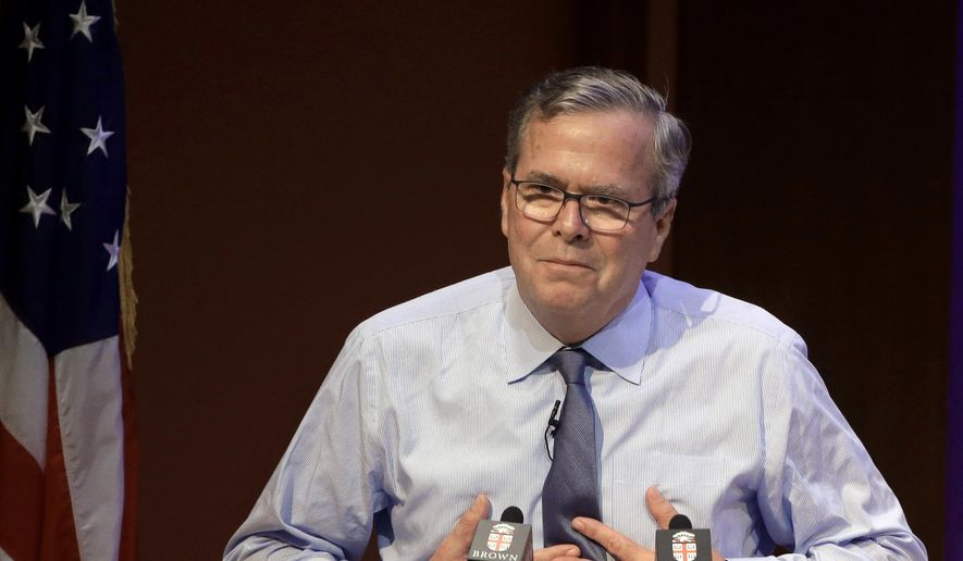 Former Florida Gov. Jeb Bush addresses an audience Wednesday, April 25, 2018, on the campus of Brown University, in Providence, R.I. (AP Photo/Steven Senne) ** FILE **