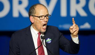 Democratic National Committee Chairman Tom Perez speaks at the Northam For Governor election night party at George Mason University in Fairfax, Va., Tuesday, Nov. 7, 2017. (AP Photo/Cliff Owen)