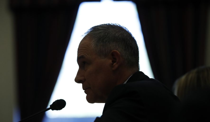 Environmental Protection Agency Administrator Scott Pruitt testifies on the EPA FY2019 budget during a hearing of the House Appropriations subcommittee for the Interior, Environment, and Related Agencies, on Capitol Hill, Thursday, April 26, 2018 in Washington. (AP Photo/Alex Brandon)