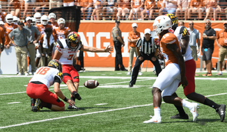 Adam Greene (No. 3) attempts a field goal for the Maryland Terrapins in their season-opening win over the Texas Longhorns on September 2, 2017. (Photo courtesy of Maryland Athletics)