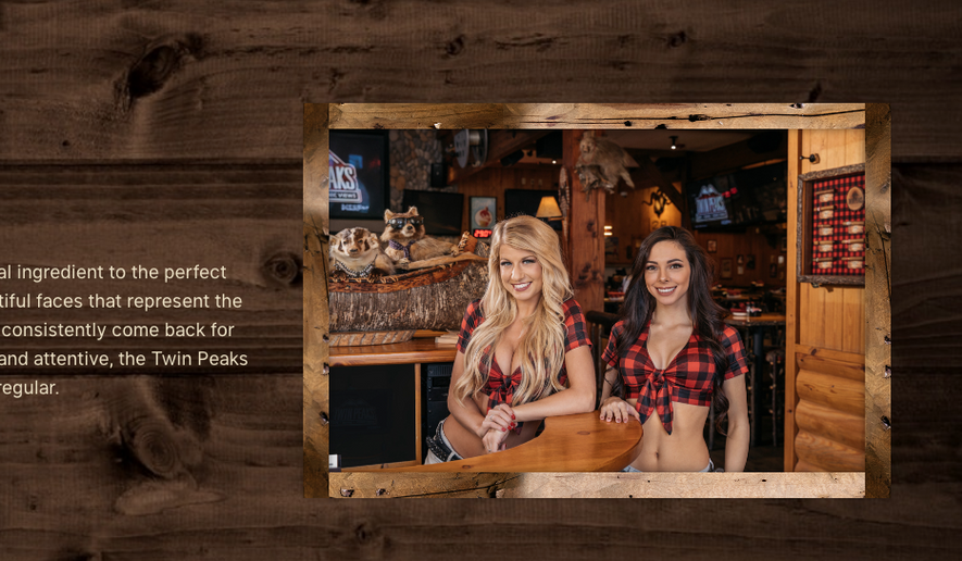 Screen capture from the official website for the Twin Peaks Restaurant chain, which features female servers in midriff-baring low-neckline flannel shirts. A group of former servers from a Chicago store in the chain have filed a claim with the federal Equal Employment Opportunity Commission, the Associated Press reported on April 26, 2018. (TwinPeaksRestaurant.com)