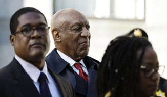 Bill Cosby arrives for his sexual assault retrial, Thursday, April 26, 2018, at the Montgomery County Courthouse in Norristown, Pa. Jurors in Cosby's sexual assault retrial are kicking off a second day of deliberations. (AP Photo/Matt Slocum)