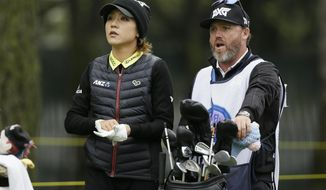 Lydia Ko, of New Zealand, waits to hit from the 16th tee of the Lake Merced Golf Club during the first round of the LPGA Mediheal Championship golf tournament Thursday, April 26, 2018, in Daly City, Calif. (AP Photo/Eric Risberg)