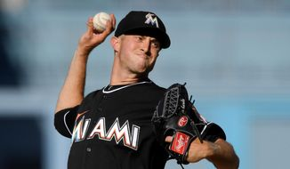 Miami Marlins starting pitcher Trevor Richards throws to the plate during the second inning of a baseball game against the Los Angeles Dodgers Wednesday, April 25, 2018, in Los Angeles. (AP Photo/Mark J. Terrill)