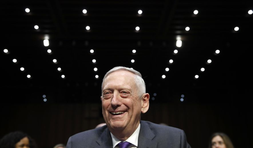 Defense Secretary Jim Mattis smiles as he arrives to testify on the Department of Defense budget posture, during a Senate Armed Services Committee hearing, Thursday, April 26, 2018, on Capitol Hill in Washington. (AP Photo/Jacquelyn Martin)