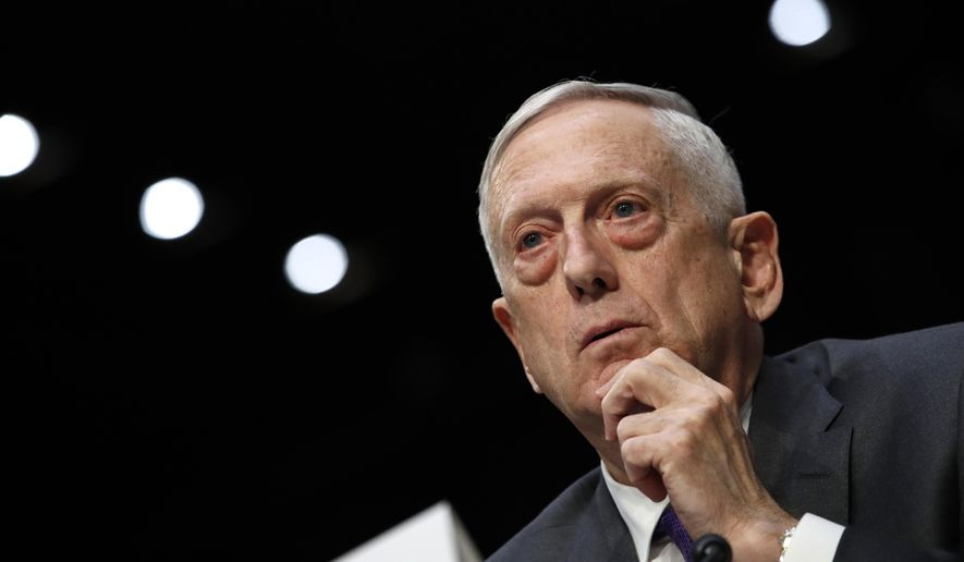In this file photo, Defense Secretary Jim Mattis listens to a question on the Department of Defense budget posture during a Senate Armed Services Committee hearing, Thursday April 26, 2018, on Capitol Hill in Washington. (AP Photo/Jacquelyn Martin) **FILE**