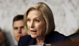 Sen. Kirsten Gillibrand, D-N.Y., asks Defense Secretary Jim Mattis about the issue of transgender troops, during a Senate Armed Services Committee hearing on the Department of Defense budget posture, Thursday, April 26, 2018, on Capitol Hill in Washington. (AP Photo/Jacquelyn Martin) ** FILE **
