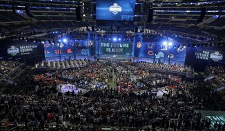 This general, overall view shows AT&T Stadium during the first round of the NFL football draft, Thursday, April 26, 2018, in Arlington, Texas. (AP Photo/David J. Phillip)