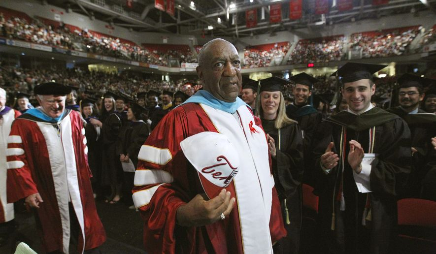 FILE - In this May 12, 2011 file photo, comedian Bill Cosby appears at Temple University's commencement in Philadelphia. On Thursday, April 26, 2018, Cosby was convicted of drugging and molesting a woman in the first big celebrity trial of the #MeToo era, completing the spectacular late-life downfall of a comedian who broke racial barriers in Hollywood on his way to TV superstardom as America's Dad. (AP Photo/Matt Rourke, File)