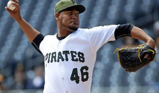 Pittsburgh Pirates starting pitcher Ivan Nova delivers during the first inning of a baseball game against the Detroit Tigers in Pittsburgh, Thursday, April 26, 2018. (AP Photo/Gene J. Puskar)