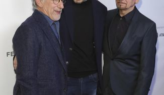 "Director Steven Spielberg, left, and actors Liam Neeson and Ben Kingsley, right, attend the ""Schindler's List"" 25th anniversary screening during the Tribeca Film Festival at Beacon Theatre on Thursday, April 26, 2018, in New York. (Photo by Brent N. Clarke/Invision/AP)"