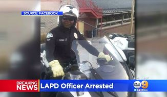 Los Angeles Police Officer Mambasse Koulabalo Patara was arrested April 24, 2018, along the U.S.-Mexico border. He faces federal charges of smuggling two illegal immigrants into the country. (Image: CBS-2 Los Angeles screenshot)