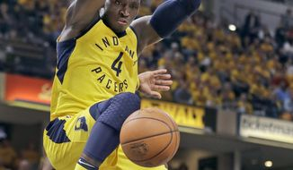 Indiana Pacers' Victor Oladipo dunks during the second half of Game 6 of a first-round NBA basketball playoff series against the Cleveland Cavaliers, Friday, April 27, 2018, in Indianapolis. (AP Photo/Darron Cummings)