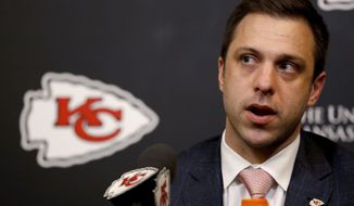 Kansas City Chiefs general manager Brett Veach talks to the media after the first round of the NFL football draft, Thursday, April 26, 2018, in Kansas City, Mo. (AP Photo/Charlie Riedel)