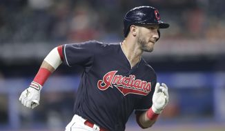 Cleveland Indians' Yan Gomes runs the bases after hitting a solo home run off Seattle Mariners starting pitcher Erasmo Ramirez during the sixth inning of a baseball game Friday, April 27, 2018, in Cleveland. (AP Photo/Tony Dejak) ** FILE **