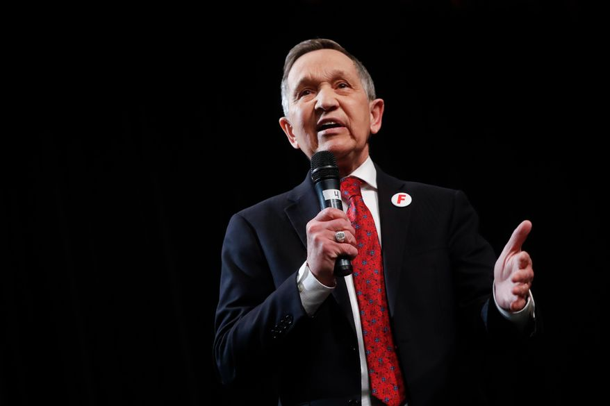 In this April 10, 2018, file photo, former U.S. Rep. Dennis Kucinich, of Ohio speaks during the Ohio Democratic Party's fifth debate in the primary race for governor at Miami (OH) University's Middletown campus in Middletown, Ohio. Kucinich is returning a $20,000 speaking fee he received last year from a group sympathetic to Syrian President Bashar Assad. The Democratic candidate for Ohio governor announced his decision in a letter sent Thursday, April 26, 2018, to The Plain Dealer. (AP Photo/John Minchillo, File)