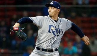 Tampa Bay Rays' Blake Snell pitches during the first inning of a baseball game against the Boston Red Sox in Boston, Friday, April 27, 2018. (AP Photo/Michael Dwyer)