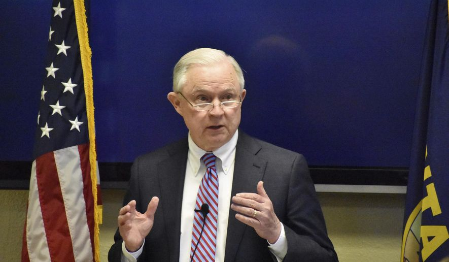 U.S. Attorney General Jeff Sessions addresses members of law enforcement and drug treatment specialists on Friday, April 27, 2018, at the Rimrock Foundation in Billings, Mont. The appearance comes as Montana has been grappling with rising violent crime linked to methamphetamine abuse. (AP Photo/Matthew Brown) **FILE**