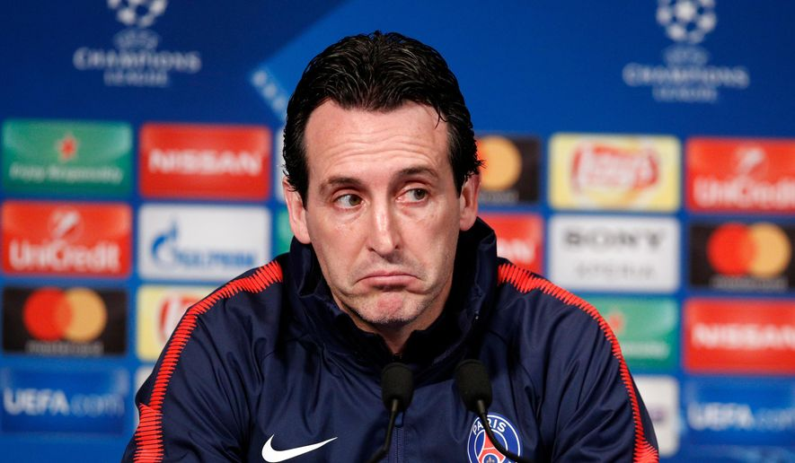 FILE - In this Monday, March 5, 2018 file photo, PSG's head coach Unai Emery attends a press conference before their Champions League Round of 16 second leg soccer match Real Madrid at the Parc des Princes stadium, in Paris. Paris Saint-Germain coach Unai Emery is leaving at the end of the season, the latest to pay the price for failing to lead the team to the European glory it so craves. Emery joined PSG from Sevilla two years ago on a two-year contract, which will not be extended. He addressed the players before training on Friday, April 27, 2018. (AP Photo/Francois Mori, file)