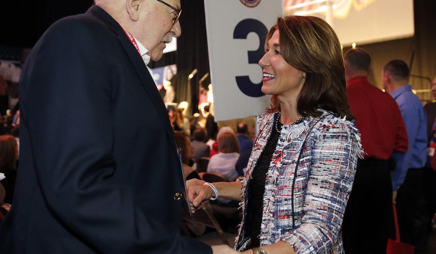 Massachusetts Lt. Governor Karyn Polito greets a delegate during the Massachusetts Republican Convention at the DCU Center in Worcester, Mass., Saturday, April 28, 2018. (AP Photo/Winslow Townson)
