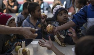 "Children have their breakfast at the ""Vina de Tijuana AC"" migrant shelter in Tijuana, Mexico, Saturday, April 28, 2018. As the migrants prepare to walk to the ""Casa del Tunel"" to get legal advice from U.S. immigration lawyers, they are telling Central Americans in a caravan of asylum-seekers they may be separated from their children and detained for many months. (AP Photo/Hans-Maximo Musielik)"