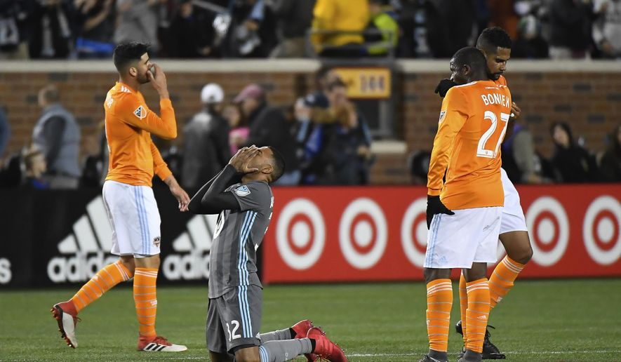 Minnesota United midfielder Alexi Gomez (32) reacts after his team's victory over the Houston Dynamo in an MLS soccer game Saturday, April 28, 2018, in Minneapolis. (Aaron Lavinsky/Star Tribune via AP)
