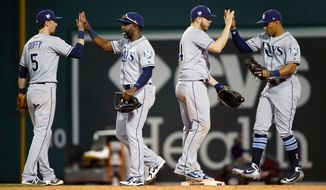 Tampa Bay Rays' Matt Duffy, Denard Span, C.J. Cron and Carlos Gomez, from left, celebrate after the Rays defeated the Boston Red Sox 12-6 during a baseball game in Boston, Saturday, April 28, 2018. (AP Photo/Michael Dwyer)