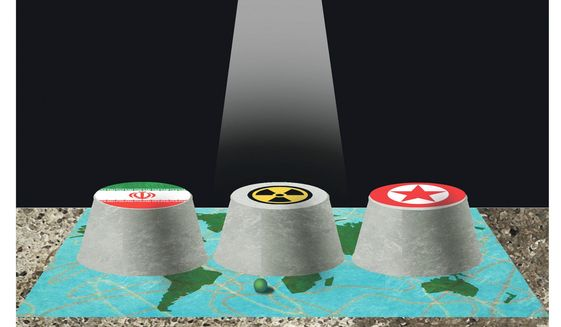 Illustration on nuclear negotiations by Alexander Hunter/The Washington Times