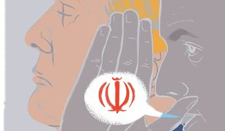 Illustration on French President Macron's support for the Iran Nuclear Deal by Linas Garsys/The Washington Times