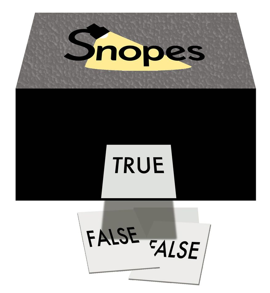Illustration on Snopes.com by Alexander Hunter/The Washington Times