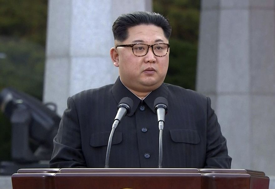 North Korean leader Kim Jong-un speaks during a joint announcement with South Korean President Moon Jae-in at the border village of Panmunjom in the Demilitarized Zone Friday, April 27, 2018. (Korea Broadcasting System via AP) ** FILE **