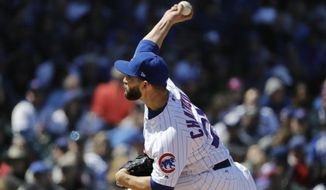 Chicago Cubs starting pitcher Tyler Chatwood throws against the Milwaukee Brewers during the third inning of a baseball game Sunday, April 29, 2018, in Chicago. (AP Photo/Nam Y. Huh)