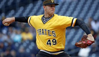 Pittsburgh Pirates starting pitcher Nick Kingham delivers in the first inning of his first major league start in a baseball game against the St. Louis Cardinals in Pittsburgh, Sunday, April 29, 2018. (AP Photo/Gene J. Puskar)
