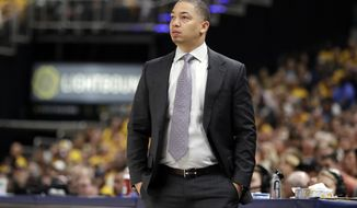 Cleveland Cavaliers head coach Tyronn Lue stands on the sideline during the second half of Game 6 of a first-round NBA basketball playoff series against the Indiana Pacers, Friday, April 27, 2018, in Indianapolis. (AP Photo/Darron Cummings)