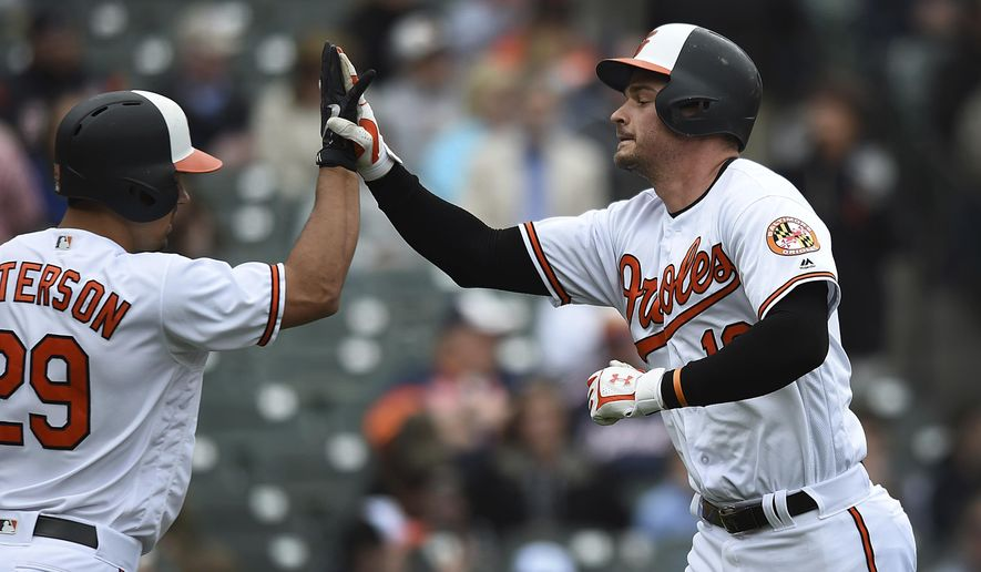 Baltimore Oriole's Trey Mancini, right, is congratulated by Jace Peterson after he hit a solo home run against the Detroit Tigers in the first inning of baseball game, Sunday, April 29, 2018, in Baltimore. (AP Photo/Gail Burton)